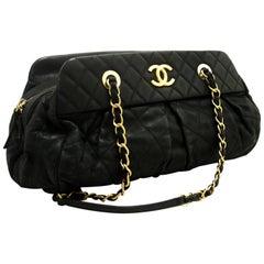 CHANEL Hobo Shoulder Bag Black Quilted Glitter Coated Leather