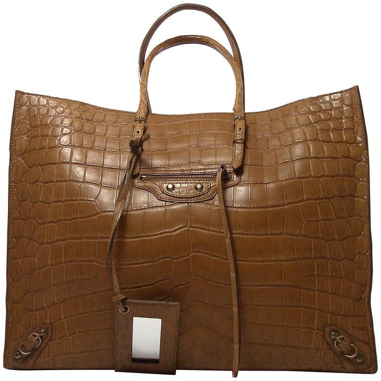 RARE and Difficute to find  / Balenciaga Papier A4  Crocodile Leather Tote Bag