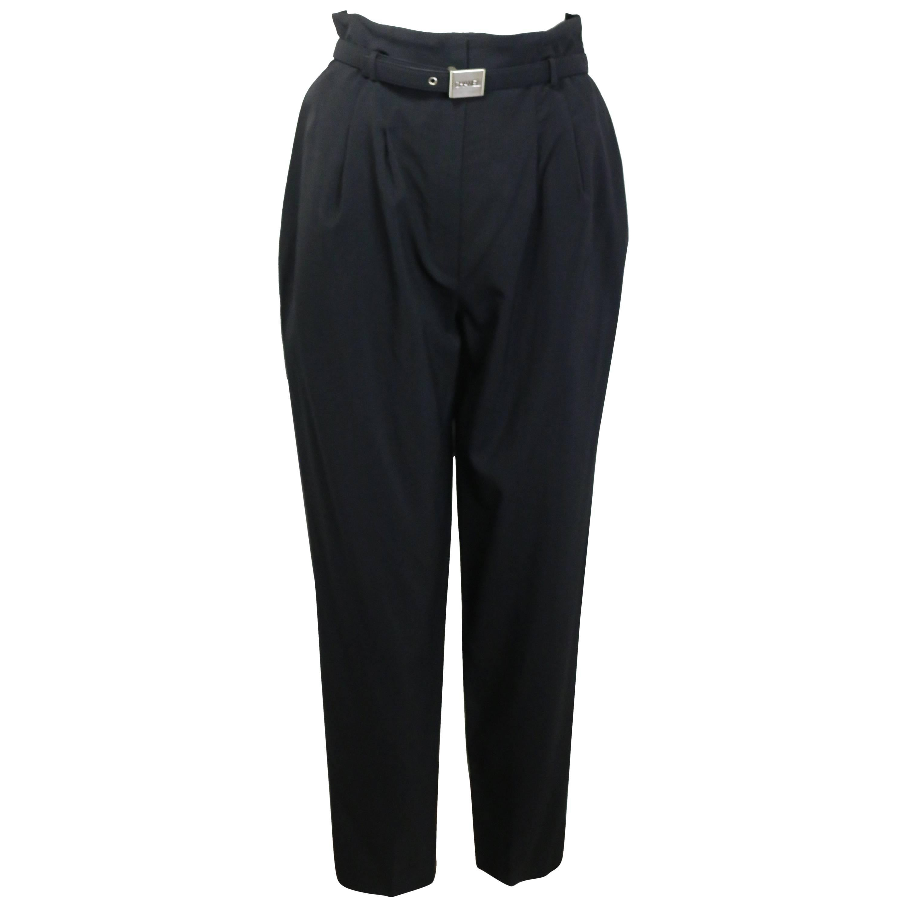 Chanel Black Wool Carrot Belted Pants