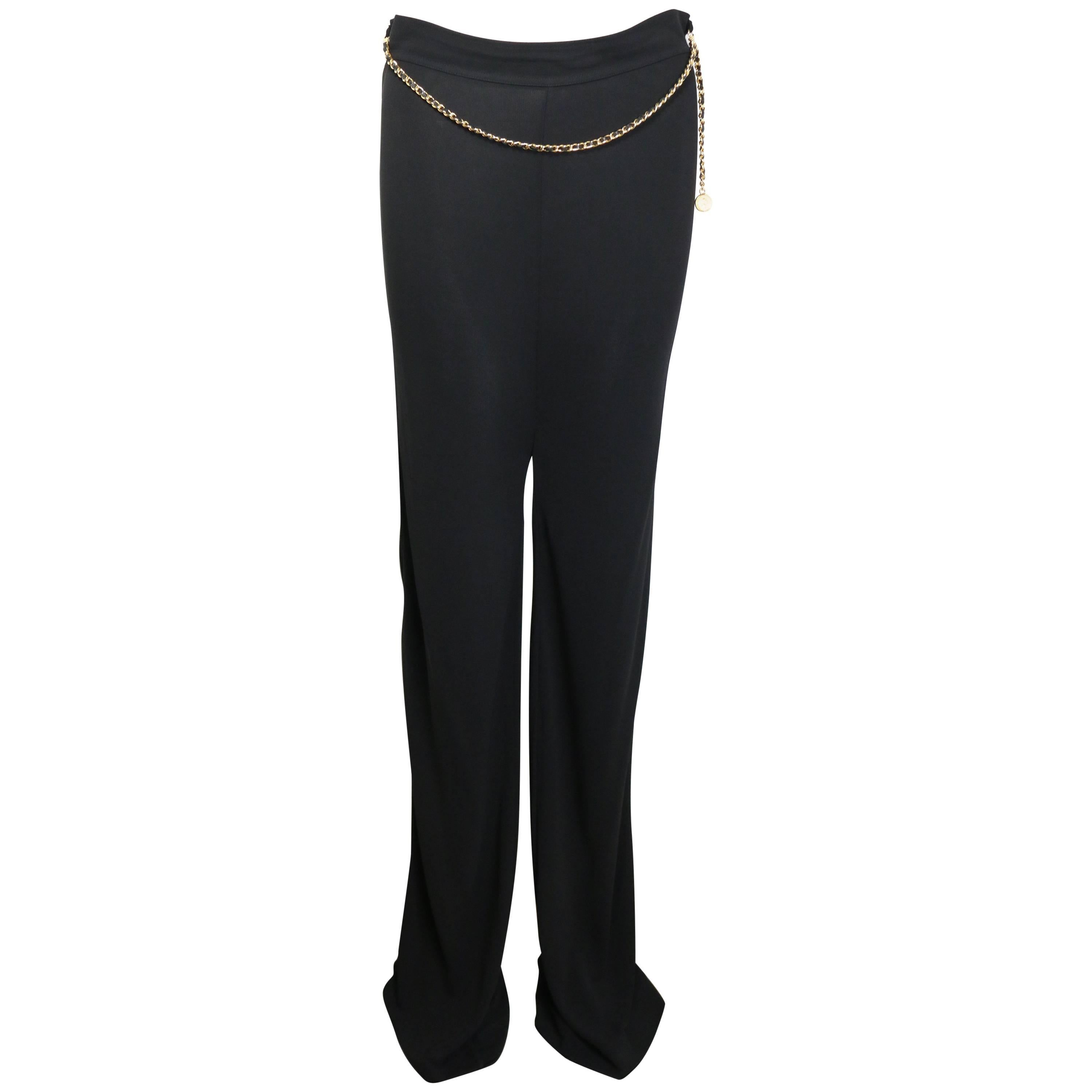 Chanel Black Jersey with Black Leather Gold Chain Pants