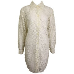 Jeff Gallano White Lace Oblong Pattern Long Collar Shirt