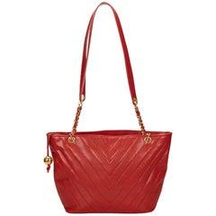 Chanel Red Chevron Caviar Leather Shoulder Bag