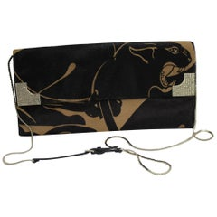 Panthere Valentino Clutch with shoulder strap in Calkskin Poney Style Leathe