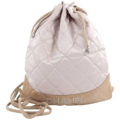 Chanel Vintage Drawstring Backpack Quilted Satin with Suede