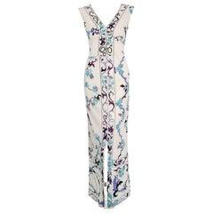 1960's Emilio Pucci Ivory Floral Print Silk Jersey Bias-Cut Sleeveless Dress