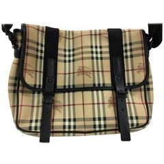 Burberry Buckle Pocket Messenger Bag Haymarket Coated Canvas with Leather Medium