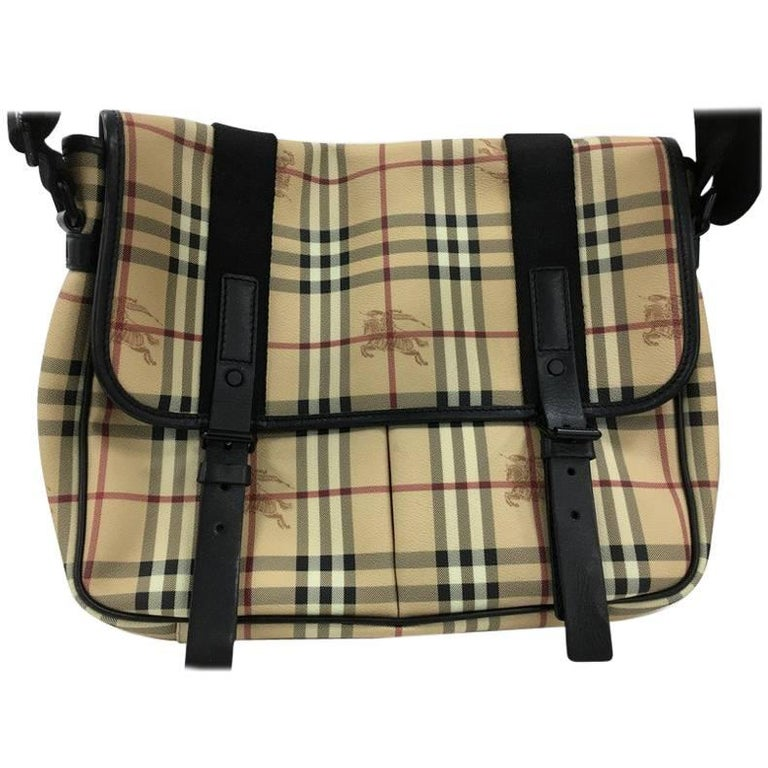 Burberry Buckle Pocket Messenger Bag Haymarket Coated Canvas with ...