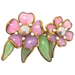 Chanel Vintage Gripoix Flower Brooch Pin with Box