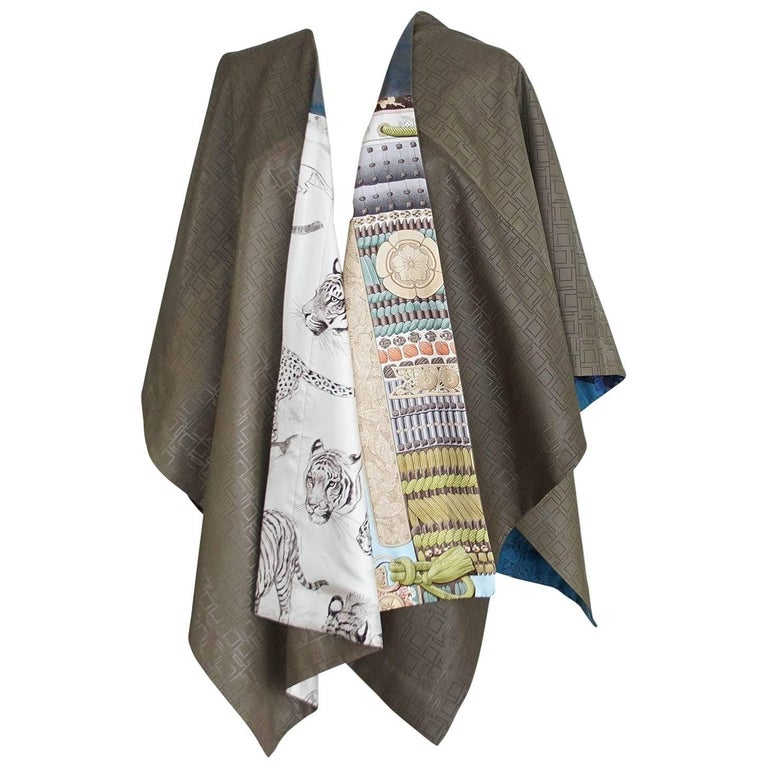 Hermes Petit h Cape One Off Perforated Leather Reverses Various Scarf Prints