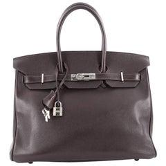 Hermes Birkin Handbag Ebene Evergrain with Palladium Hardware 35