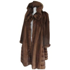 rare hooded mink fur swing coat