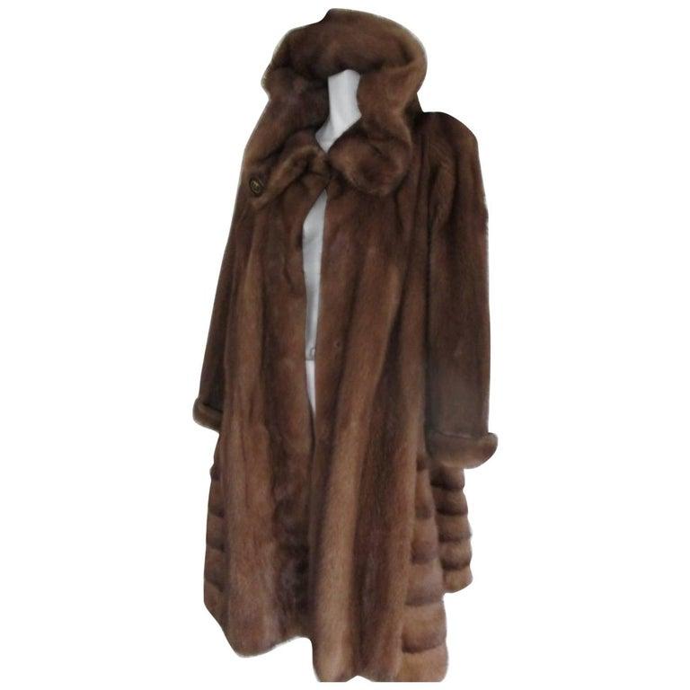 Hooded Mink Swing Fur Coat