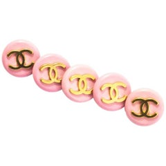 Chanel Set of Five 18mm Pink/Gold CC Buttons
