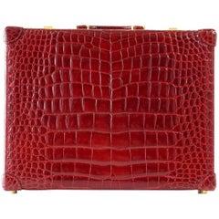 Gucci Briefcase Vintage Burgundy Red Crocodile Attache