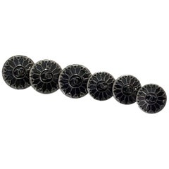 Chanel Black Enamel & Crystal Set of Six Buttons 16mm/19mm