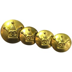 Chanel Goldtone Crown CC Buttons- Set of Four