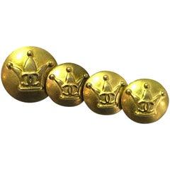 Chanel Goldtone Crown CC Buttons- Set of Four