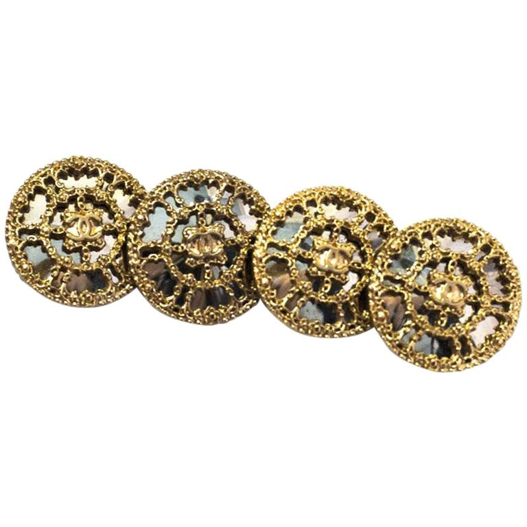 Chanelset of Four 22mm Goldtone Filigree Mirror Buttons For Sale