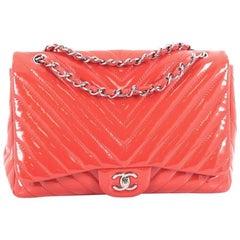 Chanel Classic Single Flap Bag Chevron Patent Jumbo