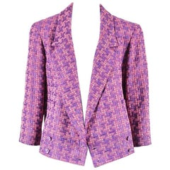 Chanel 01P NWT $1780 Purple Pink Tweed Double Breasted Jacket SZ 46