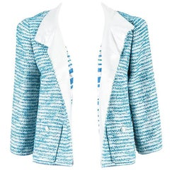 Chanel 01P NWOT Blue Silver Green Tweed Striped Open Jacket SZ 42