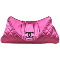 Chanel Fuchsia Pink Satin Quilted Flap Envelope Clutch Bag