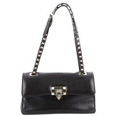 Valentino Rockstud Flip Lock Flap Bag Leather Medium