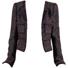 Chanel 02A Brown Maroon Wool Metallic Tweed Knit Jacket SZ 40