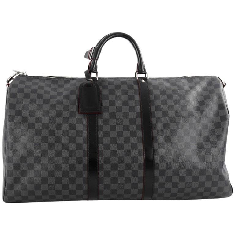 b8fd3e9cc394 Louis Vuitton Keepall Bandouliere Bag Damier Graphite 55 at 1stdibs