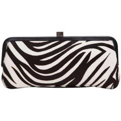 Lambertson Truex Black And White Zebra Print Pony Hair Clutch