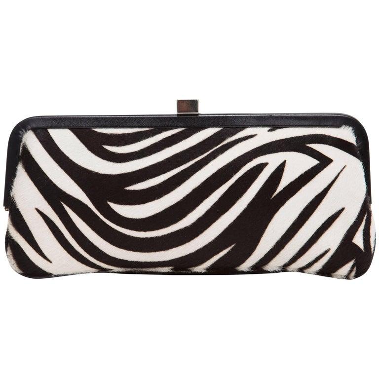 Lambertson Truex Black And White Zebra Print Pony Hair Clutch