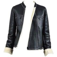 Chanel 04A Black Shearling Leather Fur Double Zip Moto Jacket SZ 40