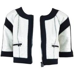 Chanel Identification Silver Tweed Black Neoprene SS Cropped Jacket SZ 34