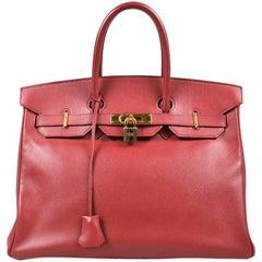"""Vintage Hermes Rouge Vif Red Courchevel Leather """"Birkin 35"""" Satchel Bag"""