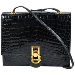 Vintage Hermes Black Genuine Crocodile Gold Tone Lock Front Flap Shoulder Bag