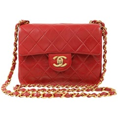 Chanel Red Lambskin Mini Classic Flap bag with GHW