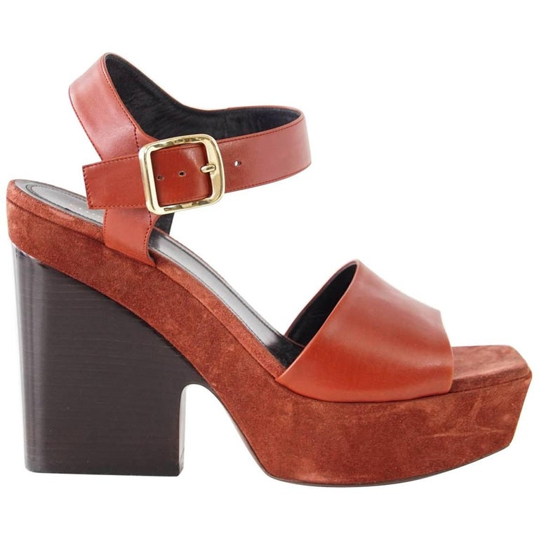Celine Shoe Leather with Suede Platform Shaped Wood Stacked Heel 39.5 / 9.5