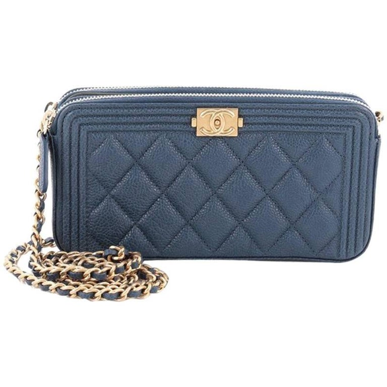 Chanel Boy Double Zip Around Wallet On Chain Quilted