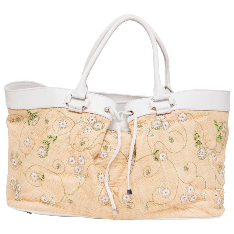 Lambertson Truex Embroidered Raffia Handbag With White Leather Trim For Sale