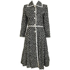 1970s GIVENCHY Black and White Dot Linen Coat Dress