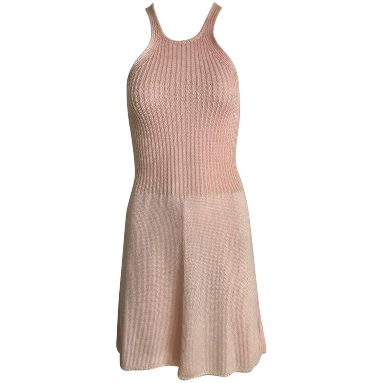 Vintage KRIZIA Pink Racer Back Mini knit Dress