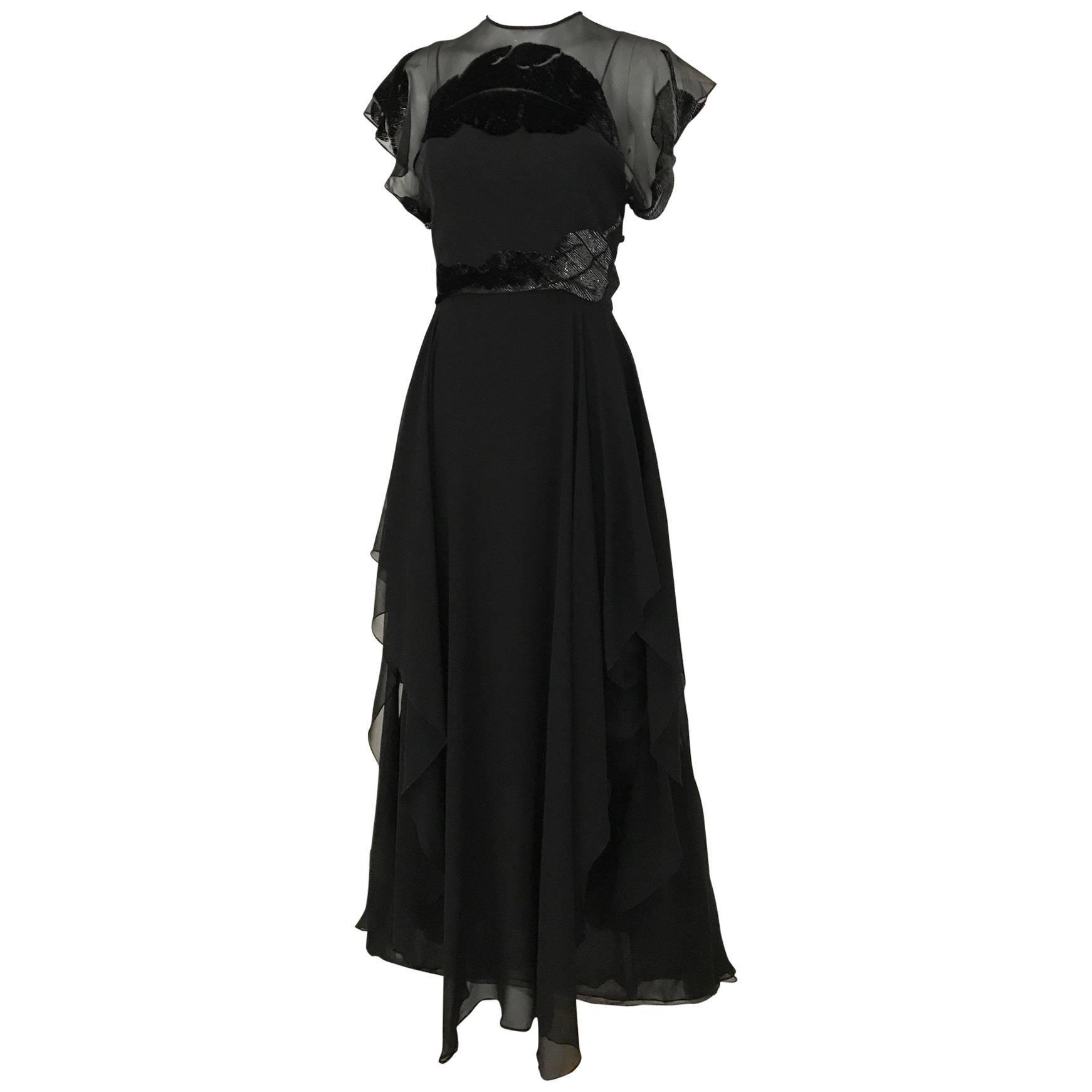 1970s Black Silk Chiffon Velvet Devore Overlay 70s Vintage Dress