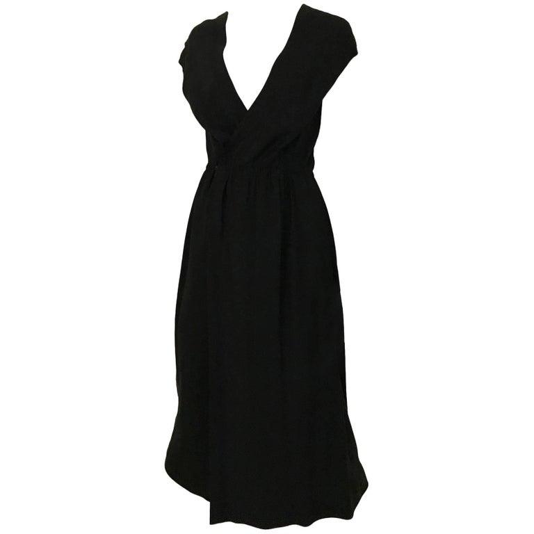Vintage 1970s HALSTON Black Silk V Neck Wrap Dress