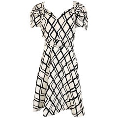 1990s SCAASI Black and Creme Checkered Print Cocktail Dress