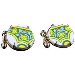 Victorian ceramic and bronze cufflinks by Patrizia Daliana