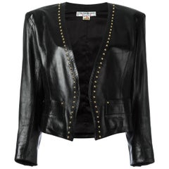 80's YVES SAINT LAURENT RIVE GAUCHE Black studded trim leather jacket