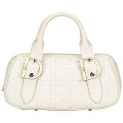 Dior White Leather Cannage Handbag