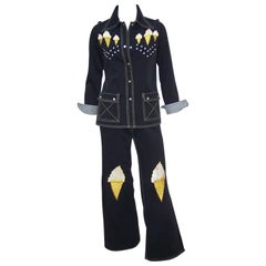 Studded 1970's Bell Bottom Suit With Ice Cream Cone Appliques