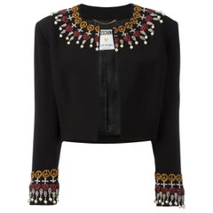 90's MOSCHINO Pearls embellished cropped jacket