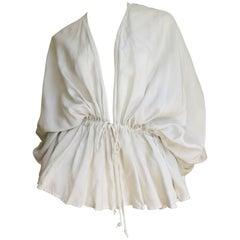 1970's Silk Drape Plunge Drawstring Shirt